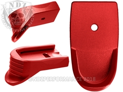 NDZ Red Magazine Base Plate Finger Extension Textured for Smith & Wesson Shield 9MM .40 (*LZ)