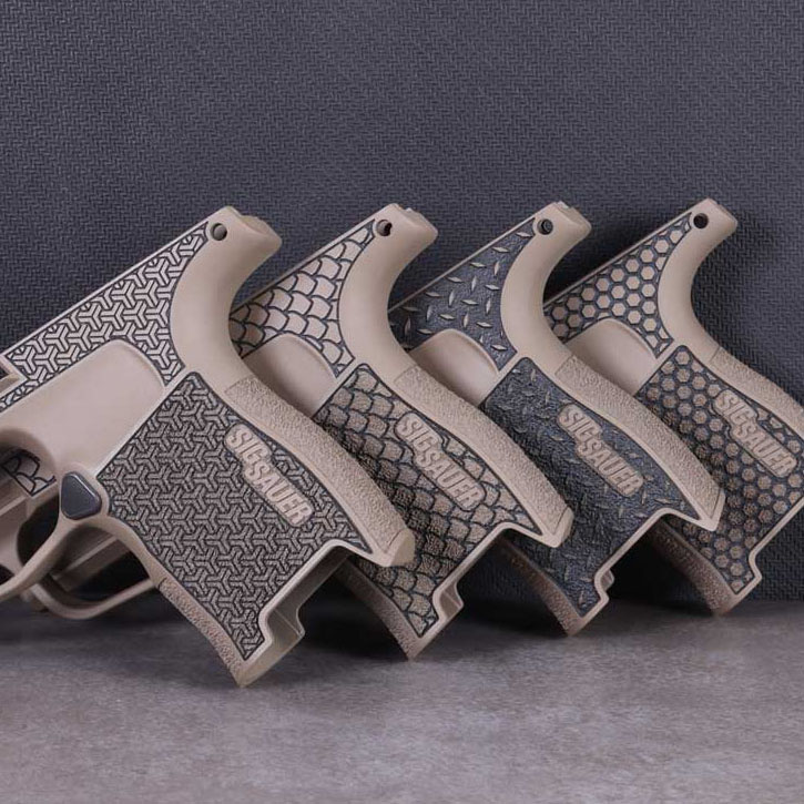 SIG P365 GRIP MODULE WITH LASERED PATTERN & LASERABLE IMAGE IN CERAKOTE