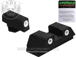 AmeriGlo 3-Dot Front and Rear Sights White Dots for Glock 42 / 43