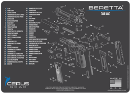 Cerus Gear Pistol Mat for Beretta 92 Schematic Grey Blue