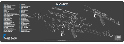 Cerus Gear Gun Mat for AK-47 Schematic Magnum Promat Grey on