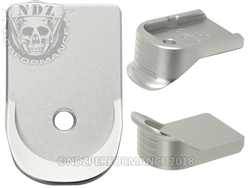 NDZ Silver Extended Grip Magazine Base Plate For Glock Gen 1-5 9MM 357 40