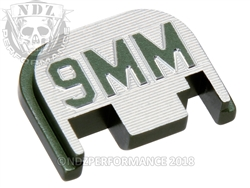 Green Glock Slide Plate Gen 1-4 9Mm Caliber Logo