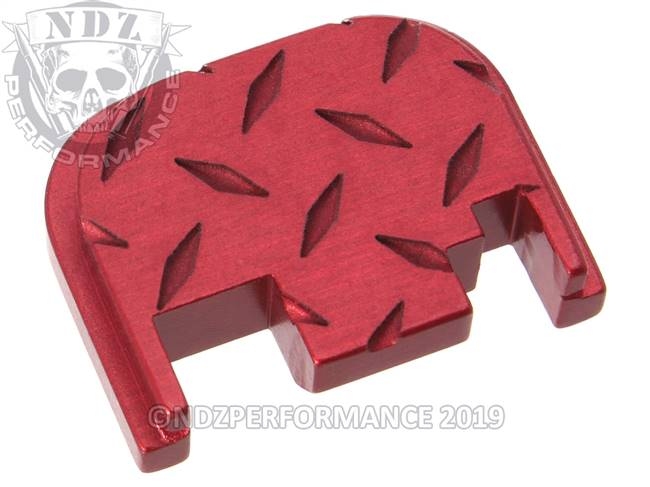 NDZ Red Glock Gen 1-4 Rear Slide Cover Plate  Diamond Cut Inverse