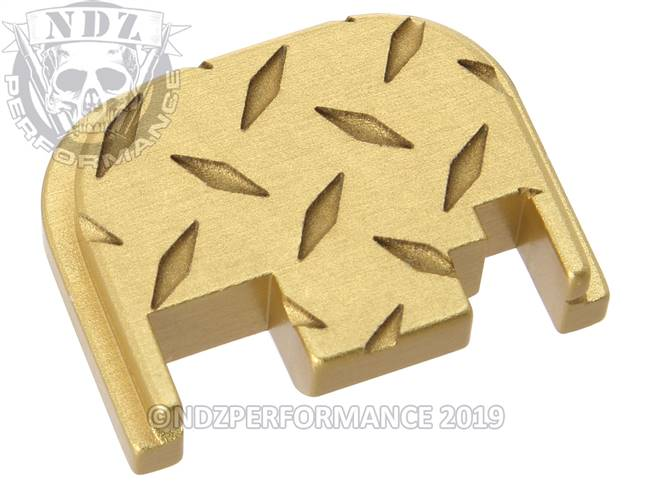 NDZ True Gold Glock Gen 1-4 Rear Slide Cover Plate  Diamond Cut Inverse