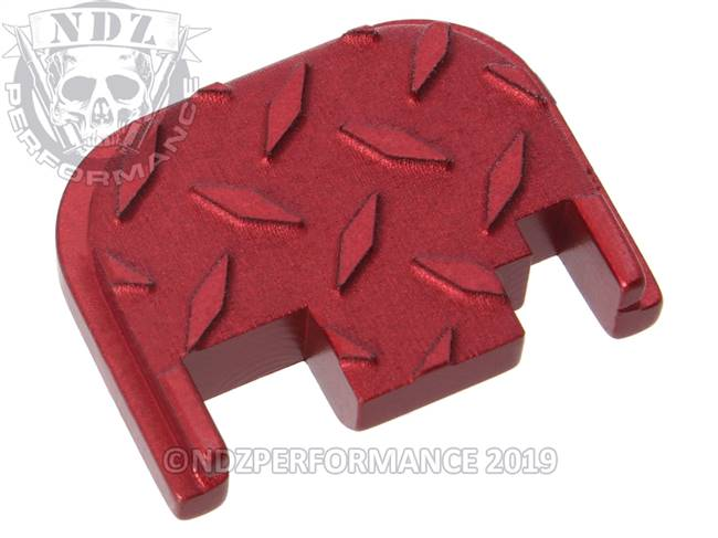 NDZ Red Glock Gen 1-4 Rear Slide Cover Plate  Diamond Cut