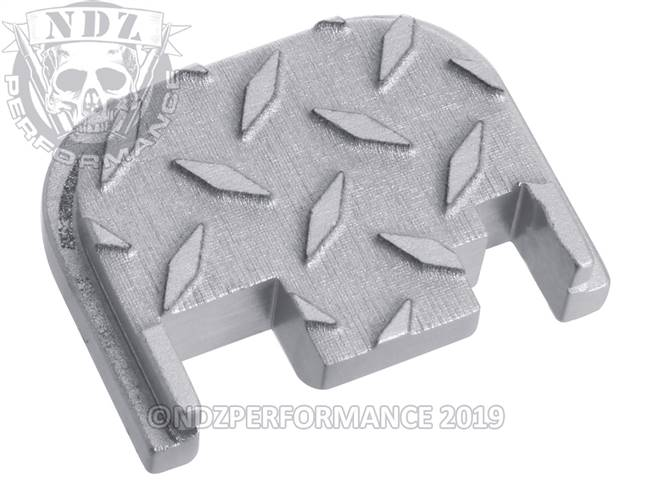 NDZ Silver Glock Gen 1-4 Rear Slide Cover Plate  Diamond Cut