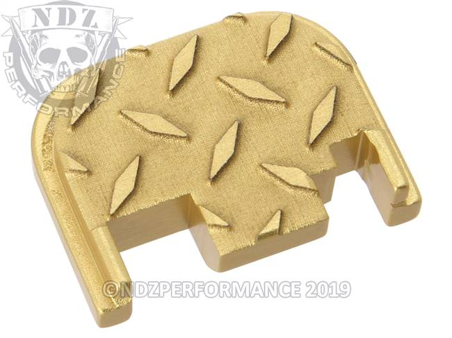 NDZ True Gold Glock Gen 1-4 Rear Slide Cover Plate  Diamond Cut