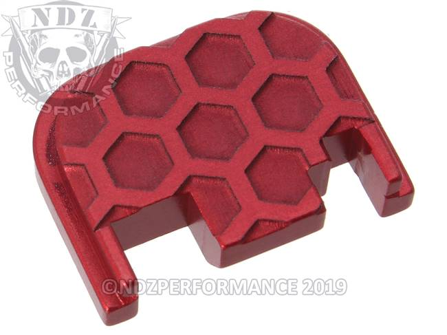 NDZ Red Glock Gen 1-4 Rear Slide Cover Plate  Honey Comb Inverse