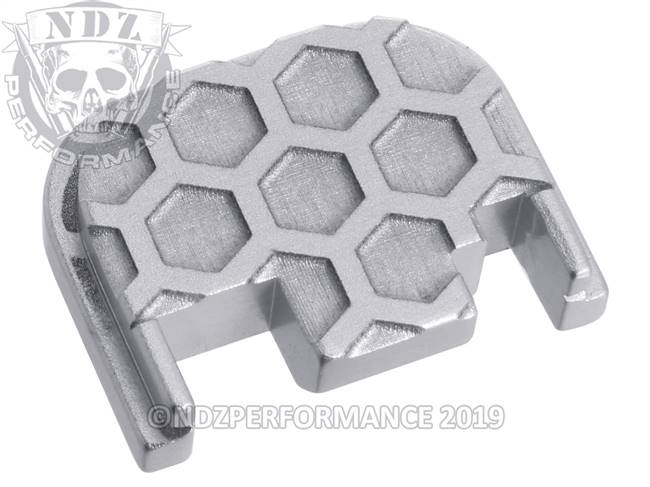 NDZ Silver Glock Gen 1-4 Rear Slide Cover Plate  Honey Comb Inverse