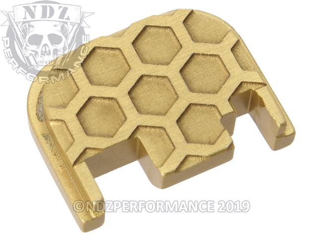 NDZ True Gold Glock Gen 1-4 Rear Slide Cover Plate  Honey Comb Inverse