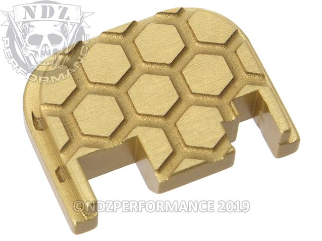 NDZ True Gold Glock Gen 1-4 Rear Slide Cover Plate  Honey Comb