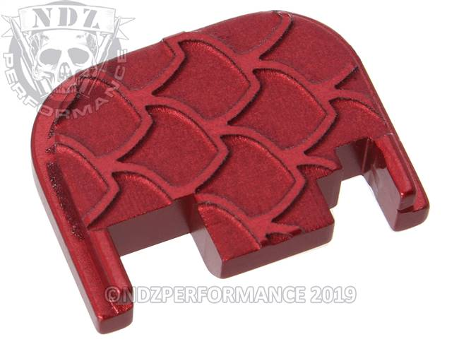 NDZ Red Glock Gen 1-4 Rear Slide Cover Plate  Scales Inverse