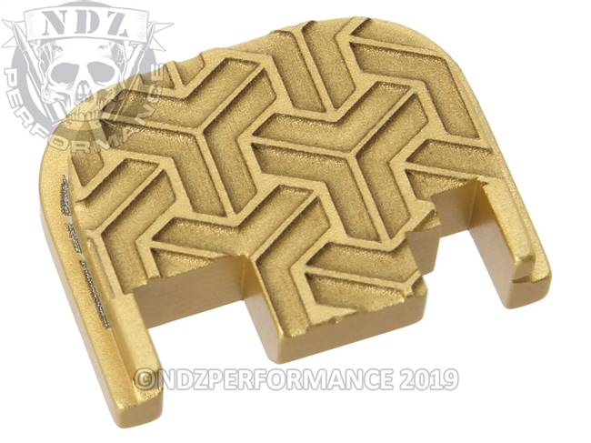 NDZ True Gold Glock Gen 1-4 Rear Slide Cover Plate  TriWeave Inverse