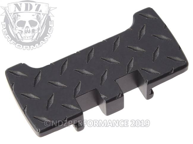 NDZ Black Glock Gen 1-5 Rear Slide Racker Plate  Diamond Cut Inverse