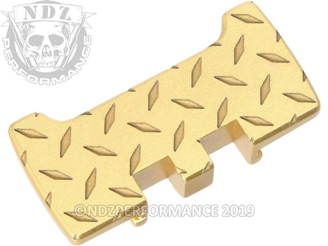 NDZ True Gold Glock Gen 1-5 Rear Slide Racker Plate  Diamond Cut Inverse