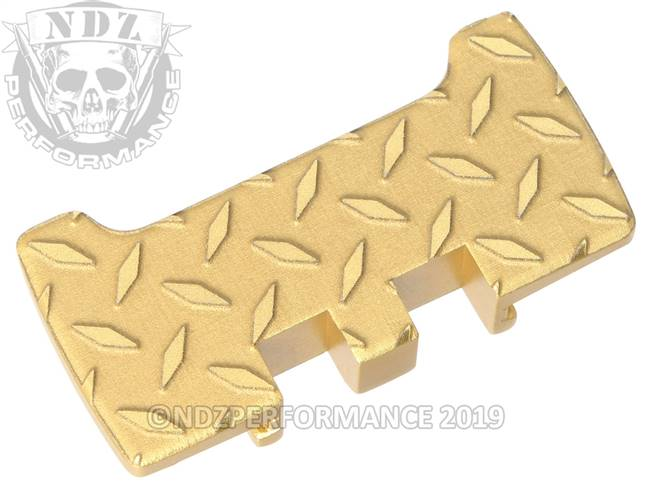 NDZ True Gold Glock Gen 1-5 Rear Slide Racker Plate  Diamond Cut