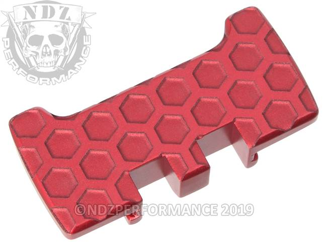 NDZ Red Glock Gen 1-5 Rear Slide Racker Plate  Honey Comb Inverse
