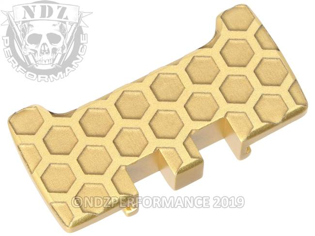 NDZ True Gold Glock Gen 1-5 Rear Slide Racker Plate  Honey Comb Inverse