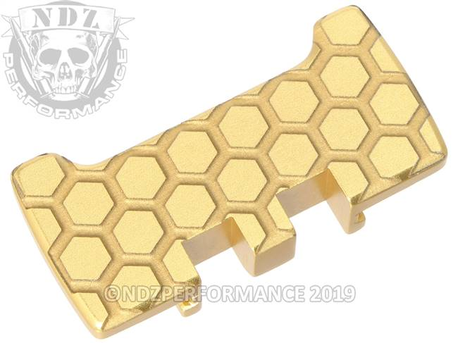 NDZ True Gold Glock Gen 1-5 Rear Slide Racker Plate  Honey Comb