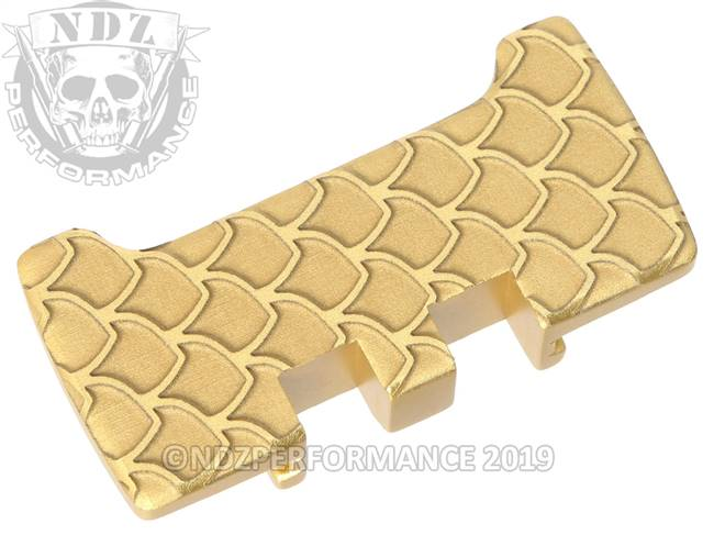 NDZ True Gold Glock Gen 1-5 Rear Slide Racker Plate  Scales Inverse