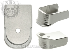 NDZ Silver Magazine Base Plate Finger Extension For Glock 30 10-Round