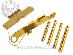 NDZ TiN Coated Gold Kit for Glock Gen 4, ESLL, Pins, Ghost Bullet Slide Release