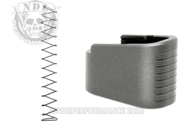 NDZ +2 Mag Extension & Ghost Magazine Spring For Glock 42 in Cerakote Tungsten