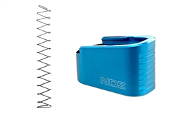 NDZ Blue Plus Two Magazine Plate with Ghost Magazine Spring for Glock 43 (*LZ)
