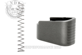 NDZ +2 Mag Extension & Ghost Magazine Spring For Glock 43 in Cerakote Tungsten