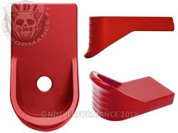NDZ Red Magazine Plate Finger Extension for Glock 43 (*LZ)