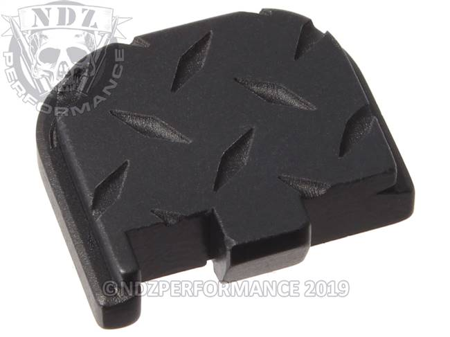 Black Glock 43 Rear Slide Plate Dia Cut Inv