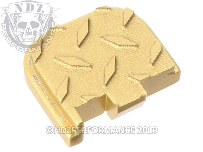 Gold Glock 43 Rear Slide Plate Dia Cut