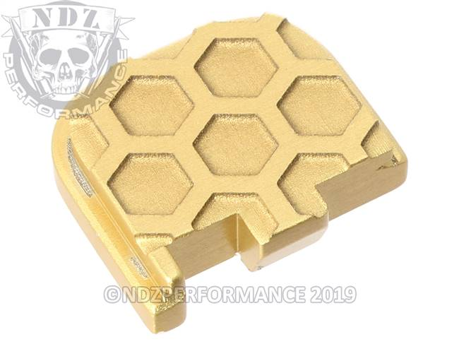 Gold Glock 43 Rear Slide Plate HC Inv