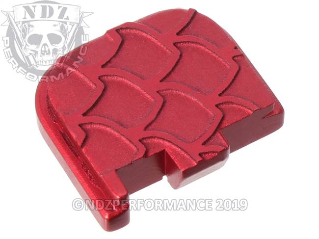 Red Glock 43 Rear Slide Plate SC Inv