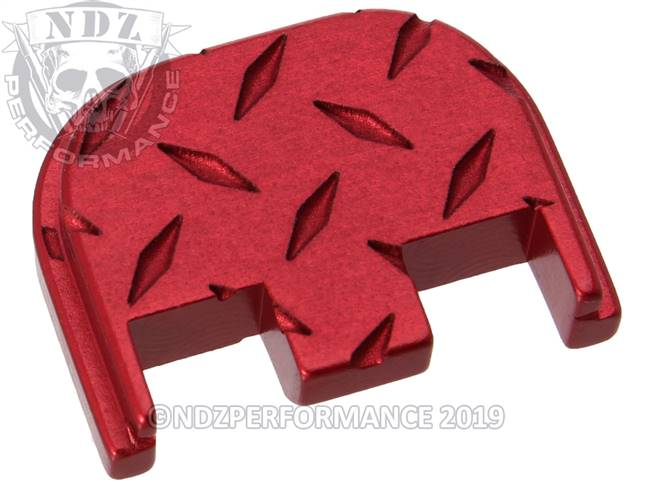 NDZ Red Glock Gen 5 Rear Slide Cover Plate  Diamond Cut Inverse