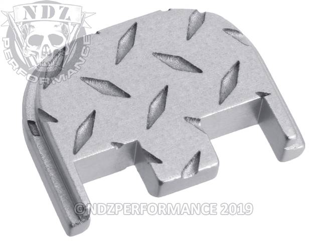NDZ Silver Glock Gen 5 Rear Slide Cover Plate  Diamond Cut Inverse
