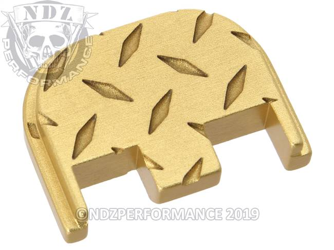 NDZ True Gold Glock Gen 5 Rear Slide Cover Plate  Diamond Cut Inverse
