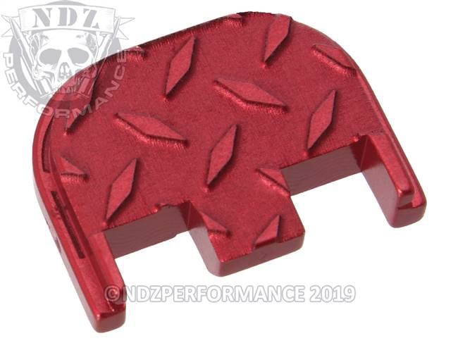 NDZ Red Glock Gen 5 Rear Slide Cover Plate  Diamond Cut