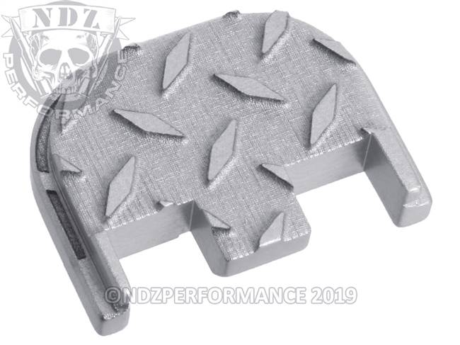 NDZ Silver Glock Gen 5 Rear Slide Cover Plate  Diamond Cut