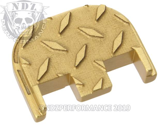 NDZ True Gold Glock Gen 5 Rear Slide Cover Plate  Diamond Cut