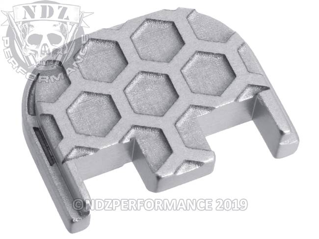 NDZ Silver Glock Gen 5 Rear Slide Cover Plate  Honey Comb Inverse