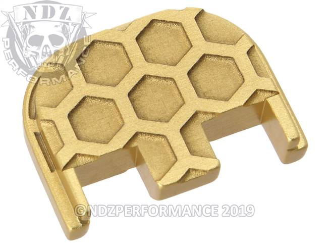 NDZ True Gold Glock Gen 5 Rear Slide Cover Plate  Honey Comb Inverse