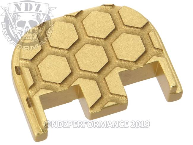 NDZ True Gold Glock Gen 5 Rear Slide Cover Plate  Honey Comb