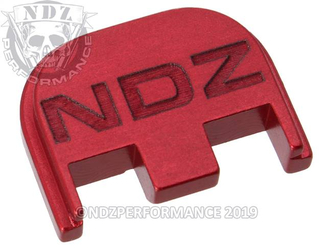 NDZ Red Glock Gen 5 Rear Slide Cover Plate  Inverse NDZ Logo
