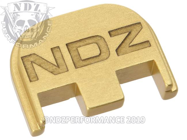 NDZ True Gold Glock Gen 5 Rear Slide Cover Plate  Inverse NDZ Logo