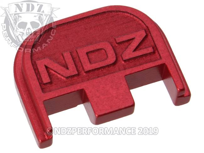 NDZ Red Glock Gen 5 Rear Slide Cover Plate  NDZ Logo