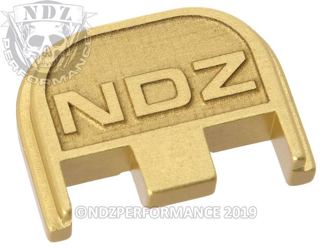 NDZ True Gold Glock Gen 5 Rear Slide Cover Plate  NDZ Logo