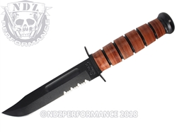 "KA-BAR USMC 1218 Serrated 12"" Fighting Utility Knife Black Brown"