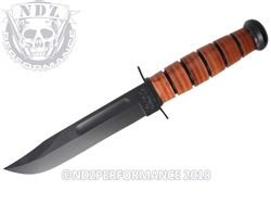 "KA-BAR USMC 1220 Plain Edge 12"" Fighting Utility Knife Black Brown"